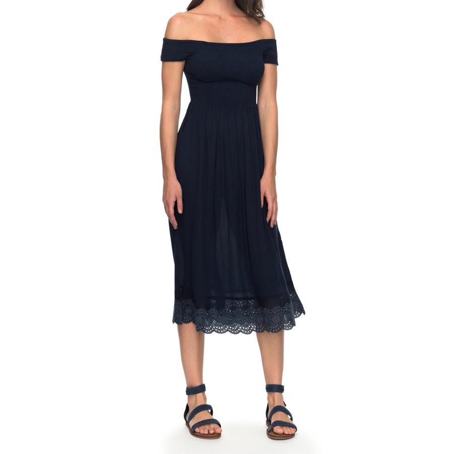 roxy Pretty Lovers Off The Shoulder Dress front view evening dress navy blue erjwd03209-btk0