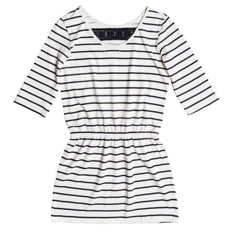 roxy Lovely Daugthers Stripe 3/4 Sleeve Dress front view girls dresses ergkd03048-wbt8