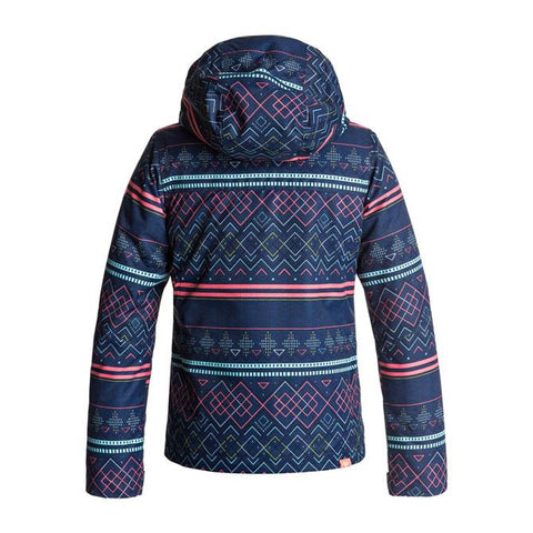 roxy Jetty Snow Jacket girls back view youth  snowboard jacket navy/pink ergtj03033-byb9