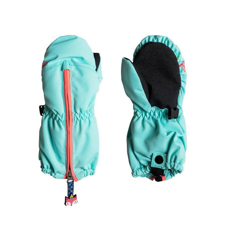 roxy Snows Up Mittens front and back view Youth Mitts aqua erlhn03003-bfk0