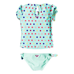 roxy  Rainbow Dots Cap Sleeve Rashguard Set back view Girls Swimwear aqua erlwr03033-gcz6