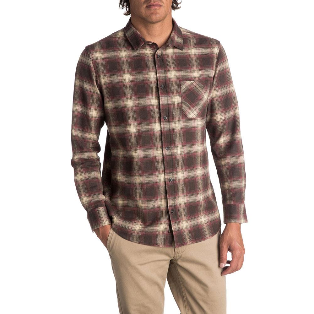 quicksilver Fatherfly front view Mens Button Up Long Sleeve Shirts brown eqwt03616-csd1