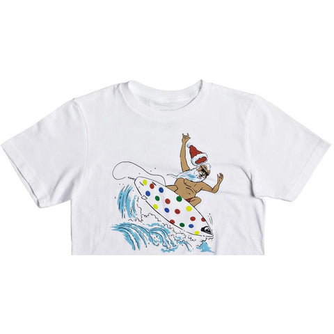 quicksilver Santa Shredder Tee front view Boys Short Sleeve T-Shirts white aqbzt03315-wbb0