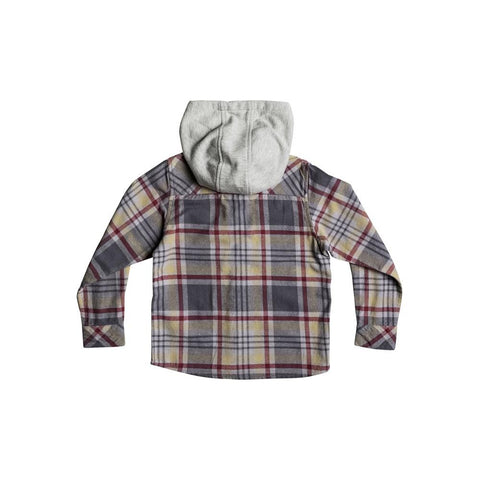 quicksilver Hooded Tang L/S Shirt back view Boys Button Up Long Sleeve grey/red eqkwt03127-tzj1