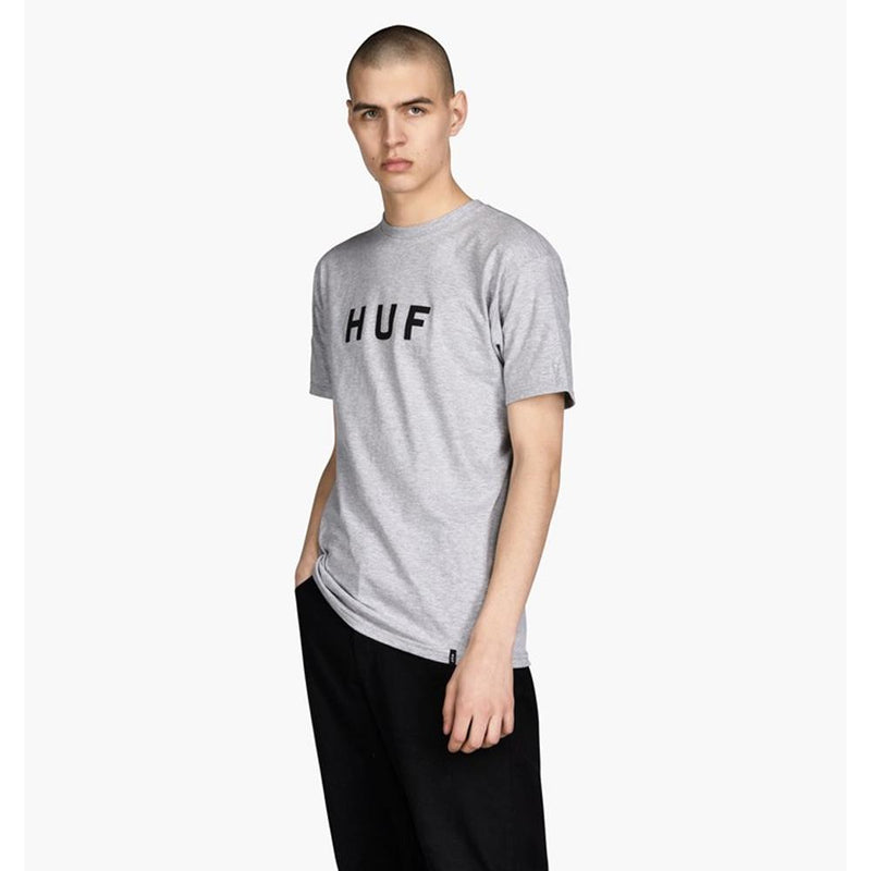 huf Original Logo Tee front view Mens T-Shirts Short Sleeve heather grey tsbsc1111