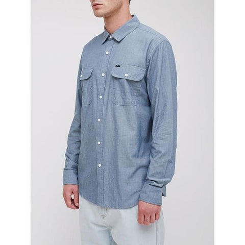 obey Glassesl Woven side view Mens Button Up Long Sleeve Shirts light blue 181200224-lbl