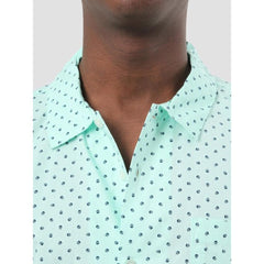 obey Gavin Woven close-up view Mens Button Up Short Sleeve Shirts seafoam green 181210190-sea