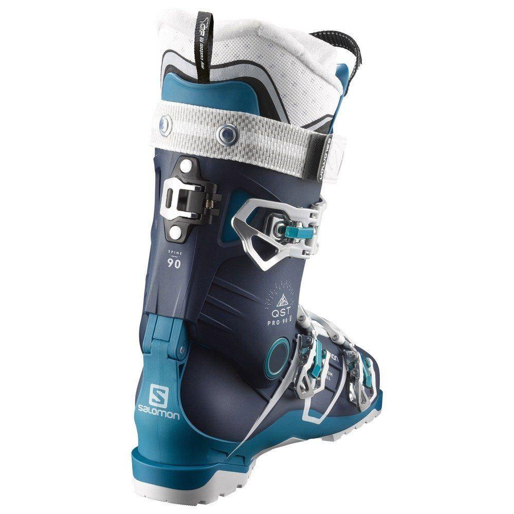 39153700 salmon alp qst pro 90 w back view womens boots black/blue