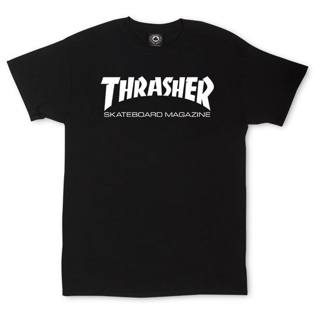 thrasher skate mag tee front view mens t-shirts short sleeve, black