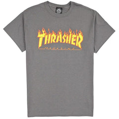 Thrasher, THR-311190, Charcoal, Flame Logo Tee, Mens T-Shirts,
