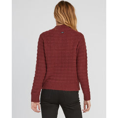 rvca my starts knit back view womens sweaters magenta