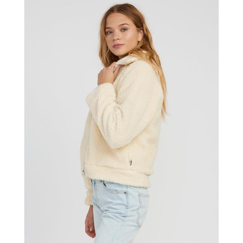 rvca ted sherpa side view womens casual jackets white