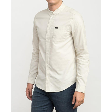 rvca that'll do l/s woven mens front view mens button up long sleeve shirts white