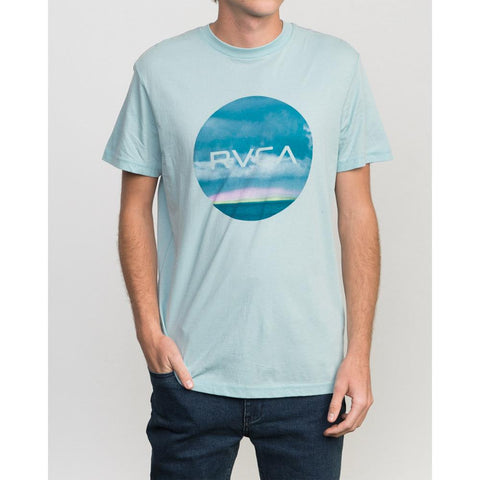 rvca harizon motors front view mens t-shirts slim fit light blue
