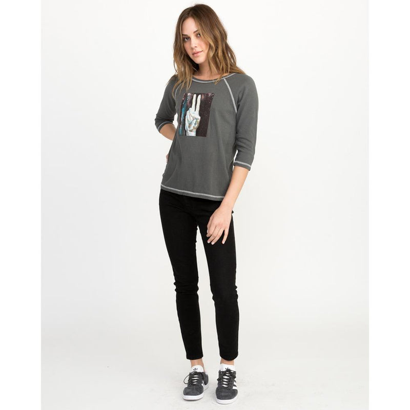 rvca universal peace front view Womens Long Sleeve Shirts grey