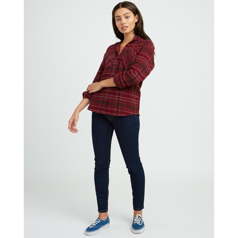 rvca roam flannel front view Womens Long Sleeve Shirts magenta