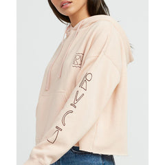 rvca venetian cropped side view Womens Pullover Hoodies pink