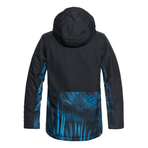 quicksilver travis ambition jacket back view Youth Snowboard Jacket black/blue