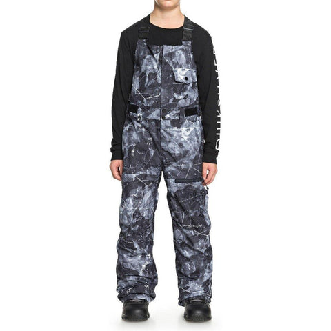 quicksilver stratus bib snowpants front view Youth Snowboard Pants black/grey