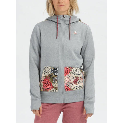 16442104020-grey heather/ cheetah floral, Burton, Oak Full-Zip Hoodie, Womens Sweatshirts, Womens Hoodies, Fall 2019
