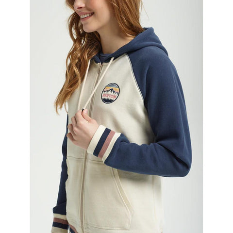 burton idletime hoodie side view Womens Zip Up Hoodies white/blue