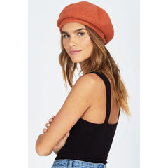 AMUSE SOCIETY MARIN BERET SIDE VIEW WOMENS FASHION HATS ORANGE