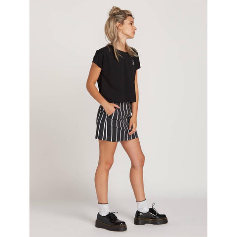 volcom frochickie skirt side view womens skirts black pinstripe