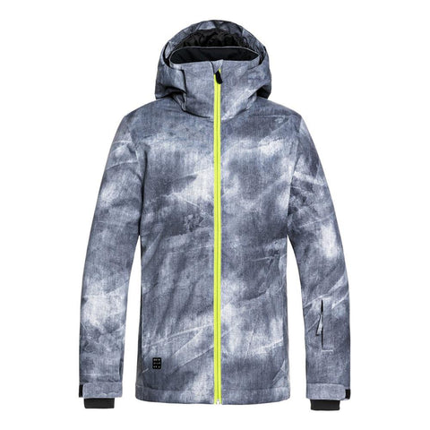 quicksilver mission youth jacket back view youth snowboard jackets black/blue