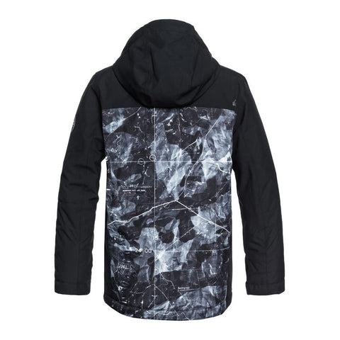 quicksilver mission block jacket youth back view youth snowboard jackets black/grey