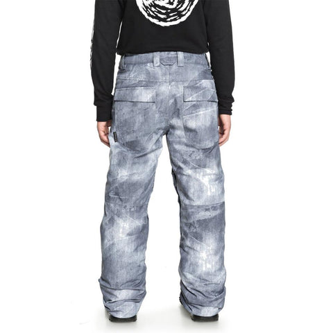 quicksilver estate snow pants back view youth snowboard pants grey/white