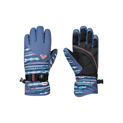 roxy jett girl gloves front and back view youth glove blue