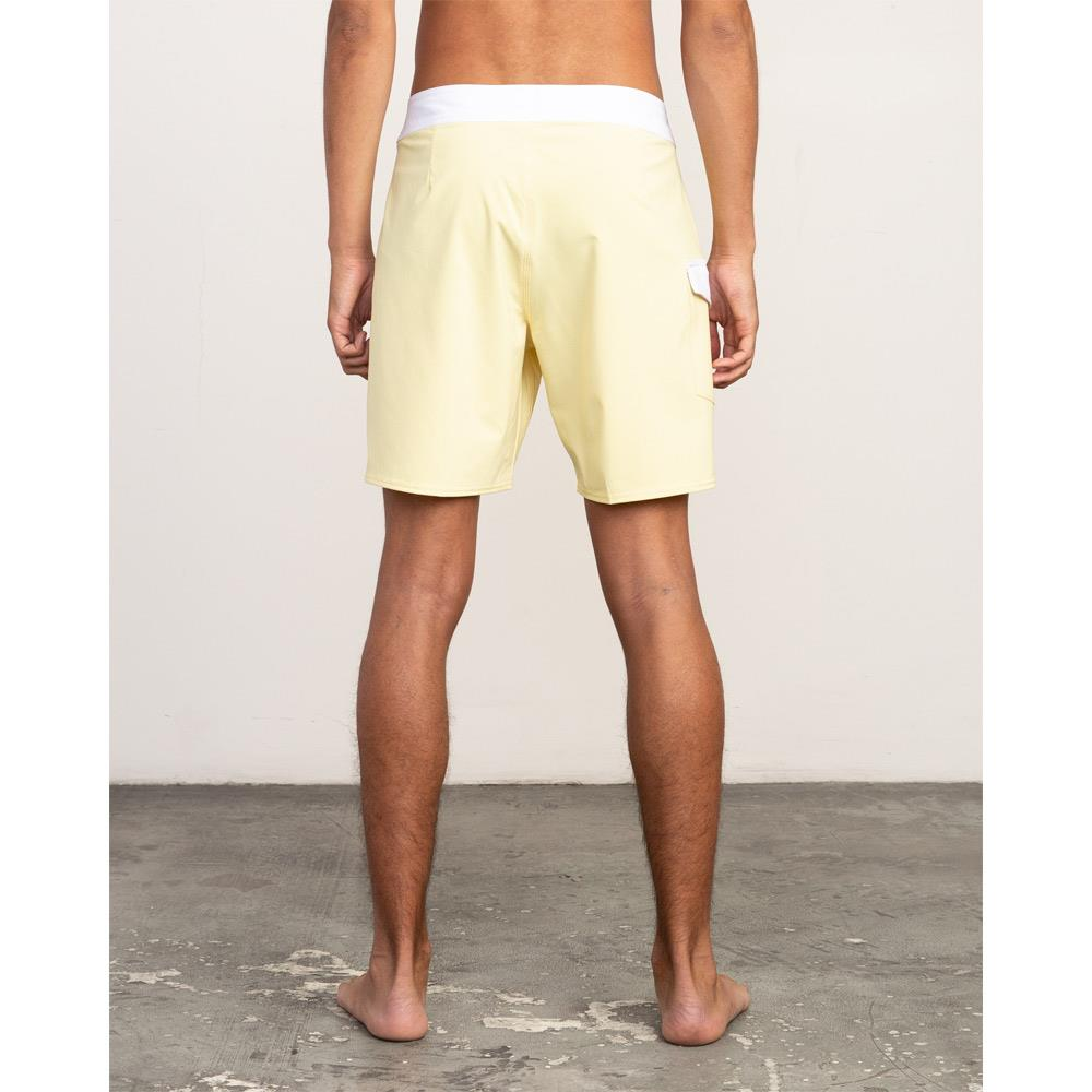 rvca Higgins Trunk back view mens boardshorts yellow