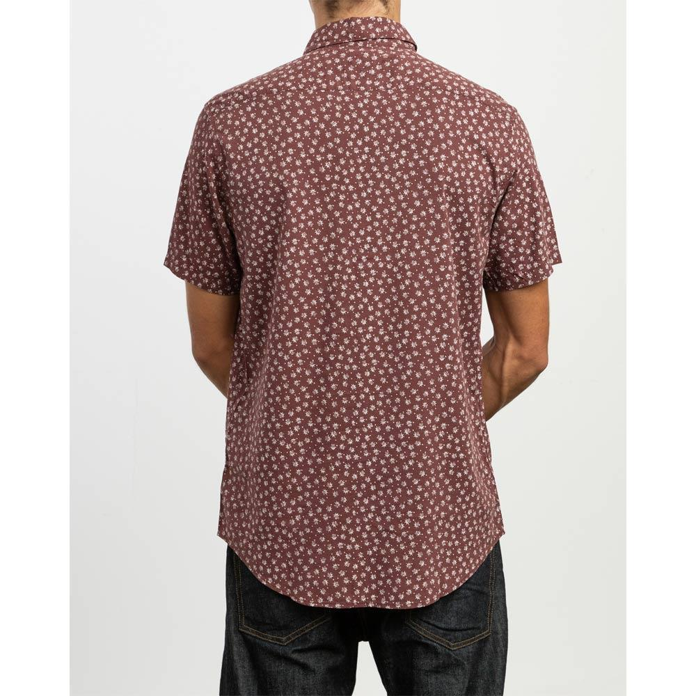 RVCA FICUS FLORAL SS BACK VIEW MENS BUTTON UP SHORT SLEEVE SHIRTS MAROON