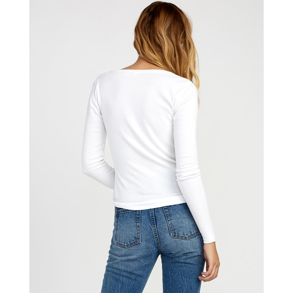 rvca zinnia back view womens long sleeve shirts white