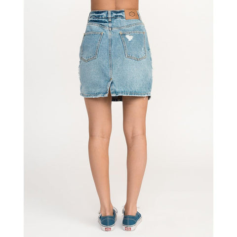 rvca jolt back view womesn jean skirt sky