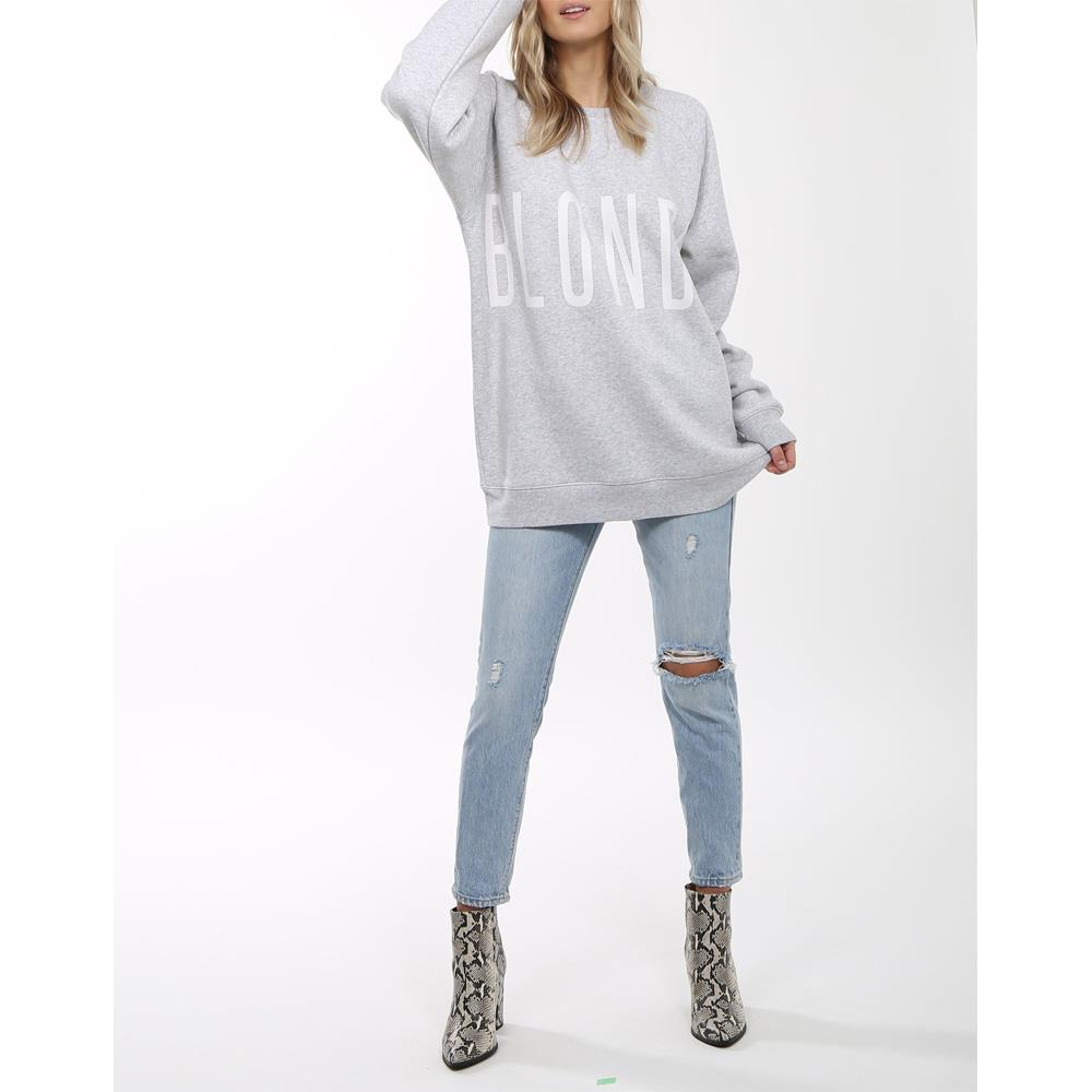 brunette blonde big sister crew front view womens sweaters grey