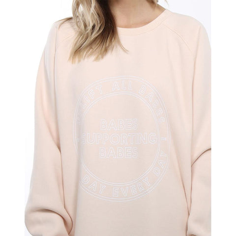 brunette uplift all babes big sister front view womens sweaters peach