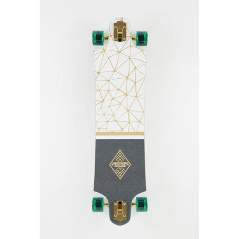 "Dusters, Lekker Longboard Complete, Drop through trucks, White/Gold, 38"", 10531443, top view"