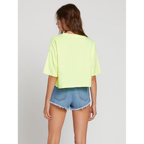 Volcom, Neon and on Tee, Womens cropped tee, Yellow, Neon Yellow, B3521908-NNY Back View