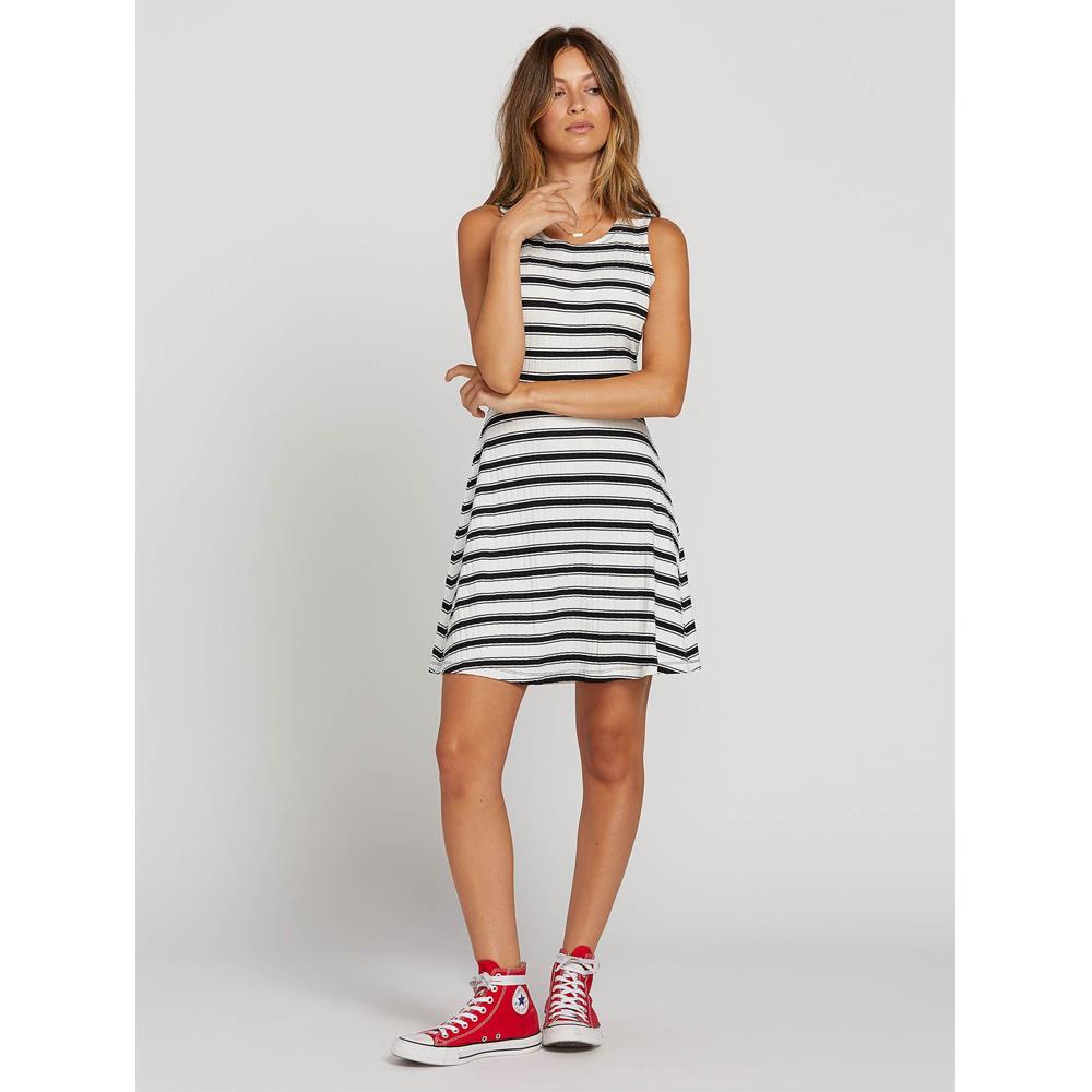 Volcom, Stone Stripe Dress, Womens Casual Dresses, Back cut out, Black, White, B1321920-BWH, Front View