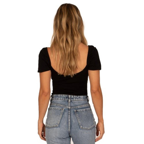Amuse Society, A902MLOW-BLK, Black, Low Tide Bodysuit, Womens Fashion Tops, fall 2019, Back View