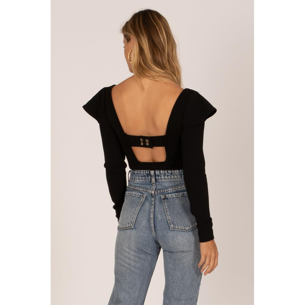 Amuse Society, A903MANI-BLK, Black, Anita Long Sleeve Knit Bodysuit, Womens Fashion Tops, Fall 2019, Back View