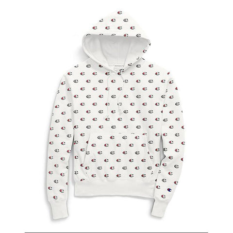 White, Champion, Reverse Weave Pullover Hoodie, mens hoodies, scribble logo, S2974