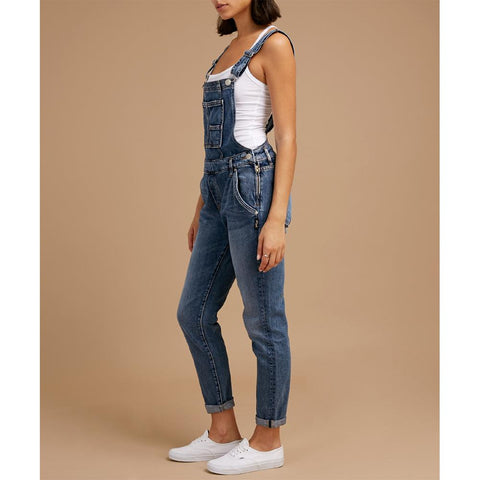 Silver Jeans, Overalls, Skinny Leg Overalls, Womens Jeans, Blue, Indigo, Denim, L27188SCP297, Side view