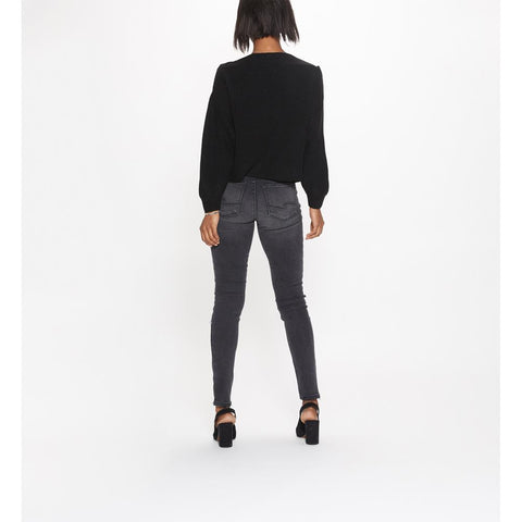 Silver, Robson High Rise Jeggings, Black, Womens Jeans, Button Fly, L64006SBK545, Back View
