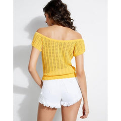 W92R00R22N0, Guess Canada, Caia Off The Shoulder Frill Top, Womens Fashion Tops, Yellow, Cabana Banana, Back view
