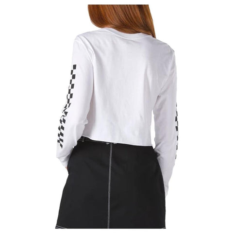 VN0A47Y1-WHT, WHITE, VANS FUNNIER TIMES LONG SLEEVE TEE, WOMENS LONG SLEEVE, CROPPED LONG SLEEVE, BACK VIEW