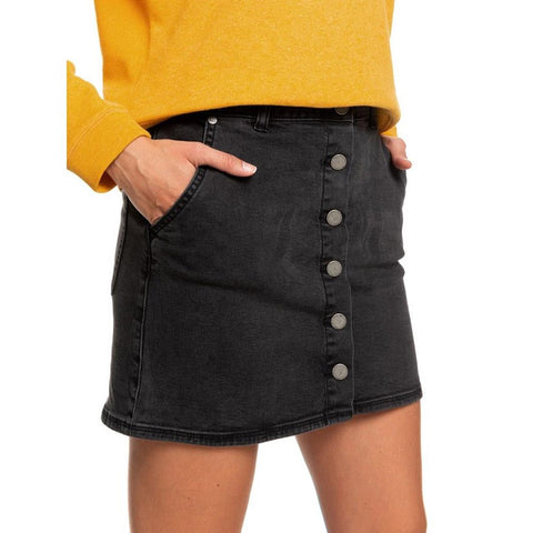 ERJDK03013-KVJ0, BLACK, ANTHRACITE, WILD YOUNG SPIRIT BUTTON DENIM SKIRT, ROXY, WOMENS JEAN SKIRTS, FALL 2019, CLOSE UP