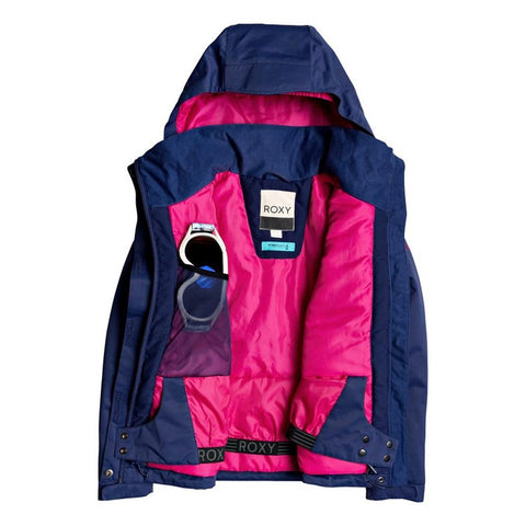 ERGTJ03083, Girls Jetty Snow Jacket, BTE0, Medieval Blue, Blue, Girls outerwear 7-14 years old, open view