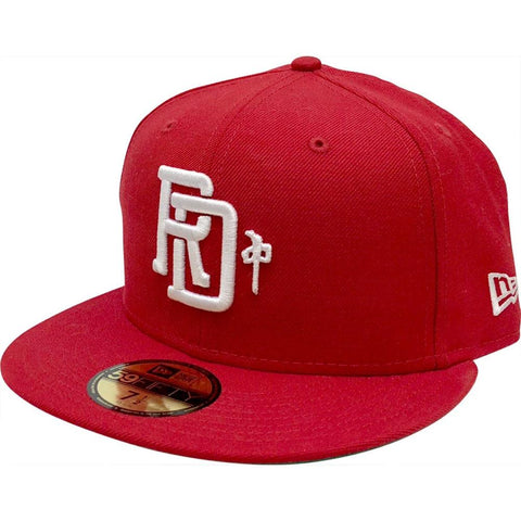 RD8884-RDWH, RED/WHITE, RDS, NEW EAR MONOGRAM HAT, MENS HATS